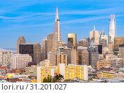 Купить «San Francisco downtown skyline Aerial view at sunset from Ina Coolbrith Park Hill in San Francisco, California, USA.», фото № 31201027, снято 14 апреля 2018 г. (c) easy Fotostock / Фотобанк Лори