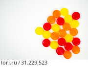 Medical lozenges for relief cough, sore throat and throat irritation on white background with copy space. Стоковое фото, фотограф YAY Micro / easy Fotostock / Фотобанк Лори
