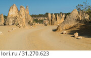 Pinnacles Desert in early morning light, Nambung National Park, Western Australia. Стоковое фото, фотограф YAY Micro / easy Fotostock / Фотобанк Лори
