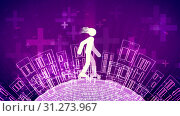 Купить «A cheerful 3d illustration of an abstract young man with fluttering hair riding white roller skates in the violet backdrop. The land is covered with high houses and see-through crosses.», фото № 31273967, снято 2 июня 2018 г. (c) easy Fotostock / Фотобанк Лори