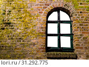 Купить «Mossy brick wall with a old wooden window frame, empty framework isolated on white», фото № 31292775, снято 31 марта 2020 г. (c) easy Fotostock / Фотобанк Лори