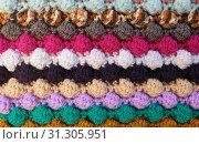 Купить «Horizontal multi-coloured stripes of bobble crochet stitches as abstract background texture», фото № 31305951, снято 19 ноября 2017 г. (c) easy Fotostock / Фотобанк Лори