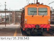 Купить «Ballast distributing and profiling track machine. Repair train», фото № 31318543, снято 7 апреля 2017 г. (c) easy Fotostock / Фотобанк Лори
