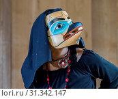 Купить «Native dancers in traditional Haida dancing regalia, Old Masset, Haida Gwaii, British Columbia, Canada., North America», фото № 31342147, снято 6 сентября 2018 г. (c) age Fotostock / Фотобанк Лори