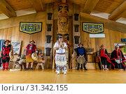Купить «Native dancers in traditional Haida dancing regalia, Old Masset, Haida Gwaii, British Columbia, Canada, North America», фото № 31342155, снято 6 сентября 2018 г. (c) age Fotostock / Фотобанк Лори