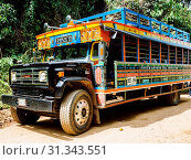 Brightly painted chivas, common transport in rural Antioquia, near Jardin, Antioquia, Colombia, South America. Стоковое фото, фотограф Melissa Kuhnell / age Fotostock / Фотобанк Лори
