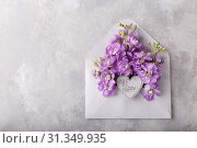 Lilac matthiola flowers in an envelope over light gray stone background, flat lay with copy space. Стоковое фото, фотограф Lana Malamatidi / easy Fotostock / Фотобанк Лори
