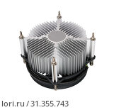 Купить «Close-up shot of computer CPU cooler isolated on a white background», фото № 31355743, снято 20 мая 2011 г. (c) easy Fotostock / Фотобанк Лори