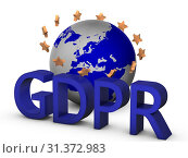 Купить «GDPR 3D concept isolated on white with globe and golden european union starts», фото № 31372983, снято 28 мая 2020 г. (c) easy Fotostock / Фотобанк Лори