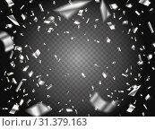 Falling Silver Confetti on transparent background. Стоковая иллюстрация, иллюстратор Анастасия Радионова / Фотобанк Лори
