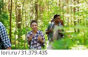 Купить «group of friends with backpacks hiking in forest», видеоролик № 31379435, снято 29 июня 2019 г. (c) Syda Productions / Фотобанк Лори
