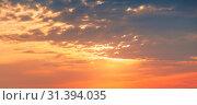 Купить «Colorful cloudy sky at sunset», фото № 31394035, снято 16 июля 2014 г. (c) EugeneSergeev / Фотобанк Лори