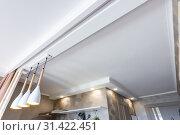 Зонированый подвесной отштукатуренный потолок в кухне. Стоковое фото, фотограф Иванов Алексей / Фотобанк Лори