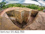 Купить «Rock hewn monolithic church of Bet Giyorgis (Church of St. George) in Lalibela , Ethiopia.», фото № 31422783, снято 22 марта 2019 г. (c) age Fotostock / Фотобанк Лори