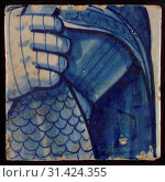 Купить «Two tiles of tableau with in blue part of armored torso, skirt and hand, tile picture footage fragment ceramics pottery glaze, d 1.1», фото № 31424355, снято 5 ноября 2018 г. (c) age Fotostock / Фотобанк Лори