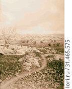 Tibna, north west of Jerusalem, Lower Beth Horon 1900, West Bank, Israel (2018 год). Редакционное фото, фотограф © Liszt Collection / age Fotostock / Фотобанк Лори