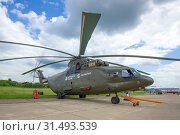 Тяжелый транспортный вертолет Ми-26Т2 на авиасалоне МАКС-2017. Жуковский. Редакционное фото, фотограф Виктор Карасев / Фотобанк Лори