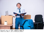 Купить «Young handsome businessman being fired from his work», фото № 31493967, снято 2 апреля 2019 г. (c) Elnur / Фотобанк Лори