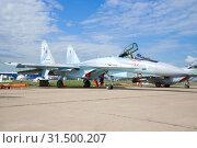 Купить «Российский многофункциональный истребитель Су-35С на авиасалоне МАКС-2017. Жуковский», фото № 31500207, снято 20 июля 2017 г. (c) Виктор Карасев / Фотобанк Лори