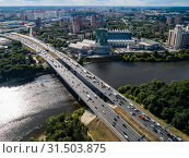 Купить «Вид сверху на Химкинский мост и канал имени Москвы», фото № 31503875, снято 25 июня 2019 г. (c) glokaya_kuzdra / Фотобанк Лори