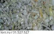 Мелко нарезанный лук жарится на подсолнечном масле на сковородке. Вид сверху крупным планом. Стоковое видео, видеограф А. А. Пирагис / Фотобанк Лори