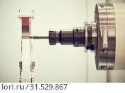Купить «Milling machine. industrial metalworking cutting process by milling cutter», фото № 31529867, снято 16 мая 2017 г. (c) Дмитрий Калиновский / Фотобанк Лори