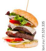Купить «Double hamburger», фото № 31531335, снято 25 августа 2019 г. (c) Яков Филимонов / Фотобанк Лори
