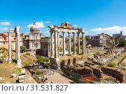Купить «View of the ruins of a Roman forum with famous sights, Rome, Italy», фото № 31531827, снято 12 сентября 2017 г. (c) Наталья Волкова / Фотобанк Лори