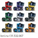 Купить «Cartoon semi trucks set isolated on white», иллюстрация № 31532067 (c) Александр Володин / Фотобанк Лори