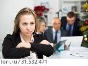 Купить «Frustrated woman sitting at office», фото № 31532471, снято 14 января 2019 г. (c) Яков Филимонов / Фотобанк Лори