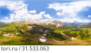 Amazing aerial 360 degrees view on Seceda Mount peak and valley from drone in summer sunny day. Dolomites Alps, South Tyrol, Italy, Europe near Ortisei. Odle mountain range and Puez massif Val Gardena. Стоковое фото, фотограф Алексей Ширманов / Фотобанк Лори
