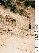 Купить «Petra, Wadi Musa, Shrines in Eagle Gully. General view showing various cult rock cuttings. 1920, Jordan, Petra (Extinct city)», фото № 31540003, снято 29 июня 2018 г. (c) age Fotostock / Фотобанк Лори