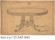 Design for a Round or Oval Renaissance Style Table, 19th century, Graphite and wash on tracing paper, sheet: 5 x 7 9/16 in. (12.7 x 19.2 cm), Anonymous, British, 19th century (2017 год). Редакционное фото, фотограф © Copyright Artokoloro Quint Lox Limited / age Fotostock / Фотобанк Лори