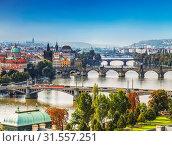 Купить «View of Prague and the bridges in the early morning, Czech Republic», фото № 31557251, снято 10 сентября 2014 г. (c) Наталья Волкова / Фотобанк Лори