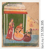 Купить «Ladies in a Pavilion: Page from a Dispersed Ragamala Series (Garland of Musical Modes), ca. 1640–50, India (Rajasthan, Marwar), Ink and opaque watercolor...», фото № 31558395, снято 8 мая 2017 г. (c) age Fotostock / Фотобанк Лори