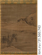 Landscape with Fishermen, 1600s. Attributed to Yi Bul-hae (Korean, active 1500s). Hanging scroll, ink and slight color on silk, overall: 122.2 x 42.9 cm (48 1/8 x 16 7/8 in.). (2019 год). Редакционное фото, фотограф Liszt Collection / age Fotostock / Фотобанк Лори