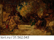 Figures on a Terrace, not dated. Attributed to Adolphe Monticelli (French, 1824-1886). Oil on wood panel, unframed: 46.5 x 69.8 cm (18 5/16 x 27 1/2 in.) (2019 год). Редакционное фото, фотограф Liszt Collection / age Fotostock / Фотобанк Лори