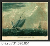 Elisha Kirkall after Willem van de Velde the Elder (English, c. 1682 - 1742), Shipping Scene from the Collection of Hugo Howard, 1720s, mezzotint and etching printed in green and black on laid paper (2010 год). Редакционное фото, фотограф Artokoloro / age Fotostock / Фотобанк Лори