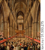 Interior View of Westminster Abbey on the Commemoration of Handel, Taken from the Manager's Box, London Signed and possibly dated, lower right: 'E. Edward   [?]', Edward Edwards, 1738-1806, British (2014 год). Редакционное фото, фотограф Artokoloro / age Fotostock / Фотобанк Лори