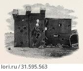 EFFECTS OF THE MACKAY GUN ON THE AGINCOURT TARGET, CROSBY SANDS, NEAR LIVERPOOL, UK, 1867 (2013 год). Редакционное фото, фотограф Artokoloro / age Fotostock / Фотобанк Лори