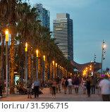 Купить «Palm alley on waterfront in Barcelona in summer evening», фото № 31596715, снято 27 августа 2017 г. (c) Яков Филимонов / Фотобанк Лори