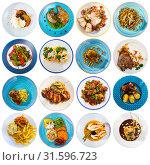 Купить «Collection of dishes on round plates», фото № 31596723, снято 21 июля 2019 г. (c) Яков Филимонов / Фотобанк Лори