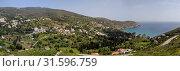 Купить «View of the mountains, sea and the village from the cliff (Andros Island, Greece, Cyclades)», фото № 31596759, снято 28 апреля 2019 г. (c) Татьяна Ляпи / Фотобанк Лори
