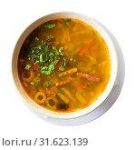 Купить «Russian cuisine - solyanka soup with various ingredients», фото № 31623139, снято 21 июля 2019 г. (c) Яков Филимонов / Фотобанк Лори