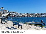 Greek Islands. View of the port of Gavrio (Andros Island, Cyclades, Greece). (2019 год). Стоковое фото, фотограф Татьяна Ляпи / Фотобанк Лори