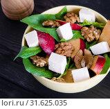 Купить «Spinach salad with nuts and apples served on table», фото № 31625035, снято 14 ноября 2017 г. (c) Elnur / Фотобанк Лори