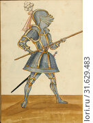 A Man in Armor, Augsburg (probably), Germany, about 1560 - 1570, Tempera colors and gold and silver paint on paper bound between original pasteboard covered... (2018 год). Редакционное фото, фотограф © Liszt Collection / age Fotostock / Фотобанк Лори