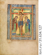 Initial T: The Crucifixion, Unknown, Steinfeld, Germany, Europe, about 1180, Tempera colors, gold, silver, and ink on parchment, Leaf: 25.2 x 17.9 cm (9 15/16 x 7 1/16 in.) (2013 год). Редакционное фото, фотограф Artokoloro / age Fotostock / Фотобанк Лори
