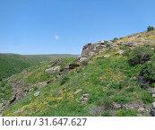 Вид на горную долину из Крепости Амбер, Армения (2019 год). Стоковое фото, фотограф Татьяна Пухова / Фотобанк Лори