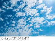 Купить «Небесный пейзаж. Blue dramatic sky background - white colorful clouds lit by sunlight», фото № 31648411, снято 24 мая 2019 г. (c) Зезелина Марина / Фотобанк Лори